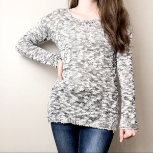 Pink rose asymmetrical sweater olive green & white